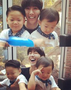 ZE:A's Kwanghee posted a photo with two of the 'Superman is Back' triplets, Min Guk and Man Se!