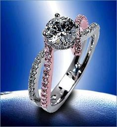 Stunning feminine and breathtaking! This blue diamond engagement ring set is crafted in solid white and rose gold with a 2 carat natural blue diamond set into a gorgeous floral basket setting on top of a diamond pebble band. The timeless and classic d Bling Bling, Ring Set, Ring Verlobung, Tiara Ring, Tiffany Rings, Tiffany Jewelry, Schmuck Design, Diamond Are A Girls Best Friend, Beautiful Rings