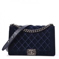 ad773be8cd07 Chanel Velvet Tweed Quilted New Medium Boy Flap Bag in Dark Navy Blue Dark  Navy Blue