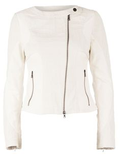 White leather and stretch cotton biker jacket from Drome featuring a round neck, a press stud fastening, long sleeves, zipped cuffs, a zip fastening and side zipped pockets.