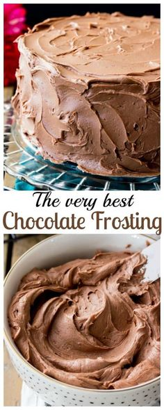 This is a simple chocolate frosting that needs just 6 ingredients -- it will easily frost a 2 layer 8 or 9 cake or generously ice a dozen cupcakes! This is a simple chocolate frosting that needs just 6 ingredients -- it will easily frost a 2 layer 8 Chocolate Icing Recipes, Chocolate Buttercream Frosting, Chocolate Cake Frosting, Icing Frosting, Vanilla Cake With Chocolate Frosting Recipe, Simple Chocolate Cake, Cupcake Frosting Recipes, Ganache Cake, Zebra Cakes