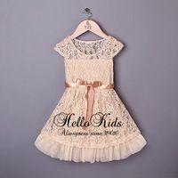 Chegada Nova Renda Crianças Vestidos de Bebê Bege Party Dress com arco Meninas 2014 de moda para crianças Flower Dress Hot Vendedor GD40224-7