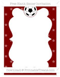 Free Maroon Star Pattern Blank Soccer Invitation