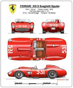 The 335 S, with its four liter V12 engine, is certainly one of the most typical sport cars of the fifties. The one represented here (chassis number 0646) was one of the four official 335 S entered by Ferrari in the 1957 Mille Miglia open road race (Brescia - Rome - Brescia) for Alfonso (Fon) de Portago and his close friend Edmund (Ed) Nelson acting as navigator.