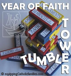 teacher gifts for Catechism teachers! =) Give them a JENGA game along with the kit!  Year of Faith Tumble Tower | Equipping Catholic Families