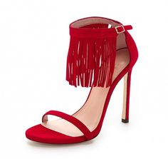 Stuart Weitzman Lovefringe Suede Sandals in Red