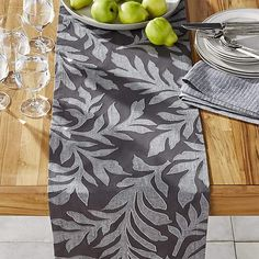 Decorative table runner is like an accent of art for your table. Decor, Table, Table Decorations, Table Top, Modern Table Runners, Grey Table, Grey Placemats, Crates, Crate And Barrel
