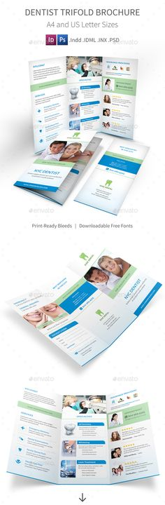 Dentist Trifold Brochure Template PSD, INDD #design Download: http://graphicriver.net/item/dentist-trifold-brochure/13828247?ref=ksioks