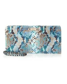 Willow Snake-Printed Clutch Bag, Blue by Oryany at Last Call by Neiman Marcus.
