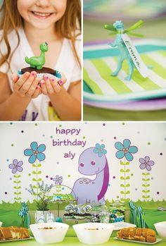 """Darling Dino"" Girly Dinosaur Birthday Party"