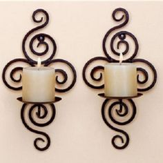 wedding decoration Iron pastoral style wrought iron candle holders Wall candlestick home decoration - Luxury Designer Fixures # Simple Wall Decor, Wall Hanging Candle Holders, Iron Wall Candle Holders, Wall Candles, Wrought Iron Candle Holders, Candle Sconces, Candle Wall Sconces, Iron Candlesticks, Wall Candle Holders