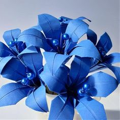 origami paper flowers blue lilies Origami Lily, Origami Flowers, Paper Flowers, Origami Folding, Origami Paper, Blue Lilies, Gift Bouquet, Craft House, Get Well Soon Gifts