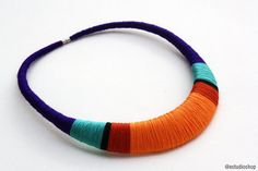 Violet and orange statement necklace, statement necklace, colorful necklace, tribal necklace, orange necklace, modern necklaces, wrapped