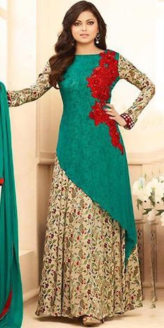 Madhubala Georgette Green Anarkali Suit With Dupatta.
