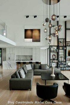 Home Interior Design: High Ceiling Decorating Ideas My Living Room, Home And Living, Living Area, Living Spaces, Modern Living, Luxury Living, High Ceiling Living Room Modern, Condo Living, Modern Minimalist Living Room