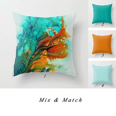 Abstract Pillow, Turquoise Pillow, Teal and Orange Pillow, Solid Pillows, Decorative Throw Pillow Covers, Mix and Match Pillows, Outdoor