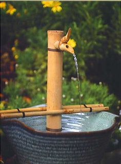 Bamboo fountain kit easily makes a bowl or pot into an Asian style fountain for indoors and out.  Available in our store.