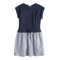 Girls' drawstring rolled-sleeve dress : everyday dresses | J.Crew