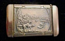 EARLY MATCH SAFE HOLDER WITH DETAILED HUNTING SCENE ELK AND DOGS PHEASANTS HUNT