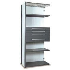 "Equipto V-Grip 84"" Shelving with Drawers Unit - 4Drw/5Shelf Closed AddOn, 4 drawers - (2) 3"", 4.5"" & 7.5"" H; 200 lb capacity Size: 84"" H x 36"" W x ..."