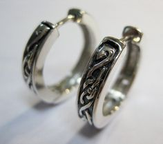 Unisex Sterling silver earrings celtic design 0.8 inch (20 mm)
