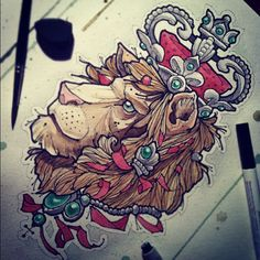 #tattoo #watercolor #lion #crown #tattooflash