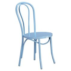 Lend a touch of vintaged charm to your breakfast nook or dining room with this metal side chair, showcases a curved back and blue finish.  ...