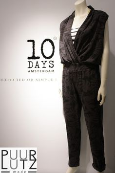 10DAYS jumpsuit soft Black summer 1015 bij www.puurlutz.nl