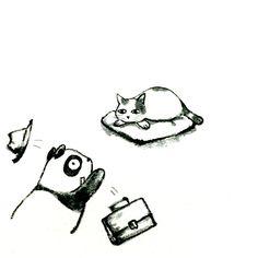 【一日一大熊猫】 2015.5.15 過労死防止に猫を飼ったらいいと思うって小説家の寒竹さんが言ってたよ。家にお腹空かせた猫がいたら、残業切り上げて帰っちゃうかもね。猫のように可愛く優雅に生きたいね。 #猫 #パンダ (実はtext 寒竹泉美) http://osaru-panda.jimdo.com