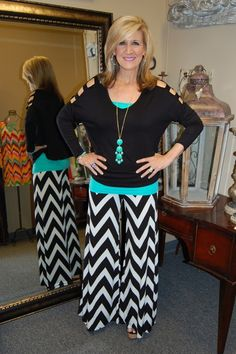 Chevron Palazzo Pants | Pamala's Boutique  Super cute!! I could totally make these pants!!