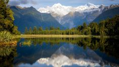 Mount Tasman and Aoraki (Mount Cook) reflected in Lake Matheson, South Island, New Zealand, 72057b79b8b5ac688c53d120fda91a0a