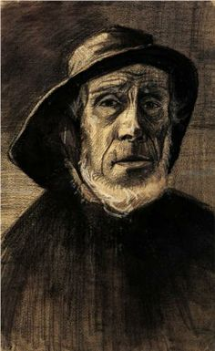 Head of a Fisherman with a Fringe of Beard and a Sou'wester - Vincent van Gogh