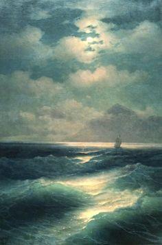 Ivan Aivazovsky, Sea view at Moonlight 1878 on ArtStack #ivan-aivazovsky #art
