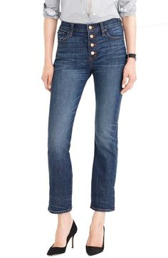 J.Crew 'Straight Away' Stretch High Rise Crop Jeans available at #Nordstrom