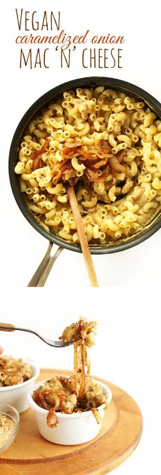 Cashew-LESS Vegan Caramelized Onion Mac n Cheese! 10-ingredients, so healthy and SUPER delicious! #vegan