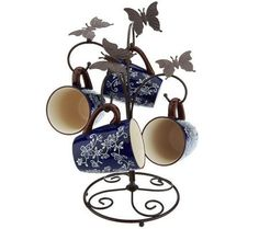 Temp-tations Floral Lace Set of 4 Mugs with Metal Rack