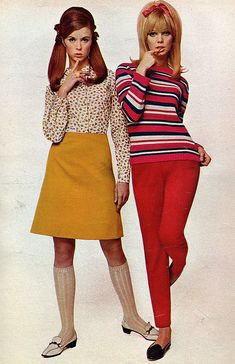 60s girl fashion.  From seventeen magazine 1967.  Remember knee socks?  Would have loved the outfits-had red stretch pants and wore ponytails like this!  Mom would have made the skirt...