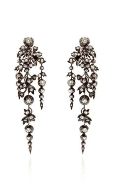 Antique Silver And Gold Diamond Earrings, ca. 1860, by Stephen Russell #VintagePolkaDotcom #alwaysbevintage #vintage #beauty #fashion #style