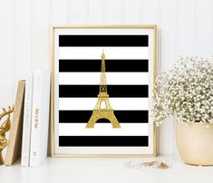 ❣ Please check our announcements tab for coupon codes! ❣  Stripe Faux Glitter Eiffel Tower Printable  ❥ No physical item will be shipped to you.
