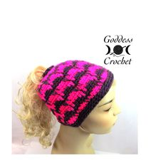 New Crochet Pattern – Spiked Punch Ponytail Hat
