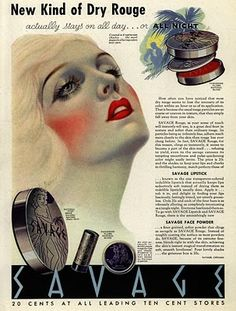 1930s makeup-rouge- ahhhhh my cheeks are on fire! Makeup Ad http://artdecogal.com/2012/03/28/1930s-beauty-secret/