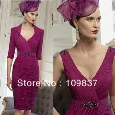 2013 Exotic Half Sleeve Jacket Chiffon Pleating Knee-length Fushcia Sexy Modern Mother Of The Bride Outfits $149.00