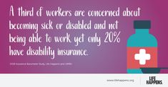 A third of workers are concerned about becoming sick or disabled and not being able to work, yet only 20% have disability insurance. Disability Insurance, Life Happens, Sick, Third, Study, Studio, Studying, Research