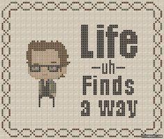 "Ian Malcolm ""Life Finds A Way"" Jurassic Park Cross Stitch Pattern"