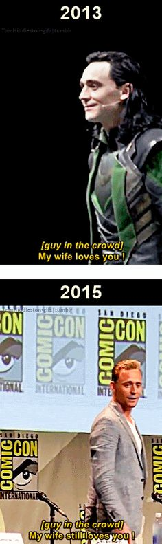 The King of Comic-Con. (Gifs by tomhiddleston-gifs.tumblr: http://tomhiddleston-gifs.tumblr.com/post/129758616094 )