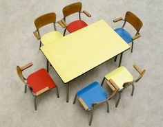 Vintage Belgian School Table and Chairs