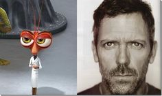 "Hugh Laurie – Dr. Cockroach (""Monsters vs. Aliens"") Monsters Vs Aliens, Hugh Laurie, Cartoon Movies, Voice Actor, Cool Cartoons, Animation, Actors, Celebrities, Natural"