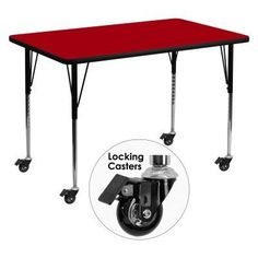 Flash Furniture Mobile 30W x 48L in. Activity Table with Standard Adjustable Legs Red - XU-A3048-REC-RED-T-A-CAS-GG