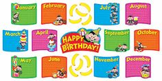 Trend Enterprises Inc. - Monkey Mischief Birthday Bunch Mini Bulletin Board Set on sale now! Get more classroom supplies for your budget at DK Classroom Outlet. Bulletin Board Sets, classroom decorations, and more. Monkey Bulletin Boards, Happy Brithday, Classroom Themes, Toys, Mini, Birthdays, December, Kids Rugs, Invitations