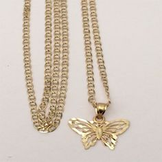 Religious 14k yellow Gold Butterfly Charm Pendant Gucci Chain 18inch Her Woman by RG&D...|||| #10kt #yellowgold #gold #yellow #fashion #online #pendant #jewelry #goldpendant #chains #goldchain #shopping #buy #sell #love #jewels